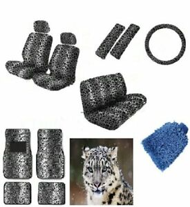 16pcs Snow Leopard Interior Seat Cover Set Front Low Back Seat Covers