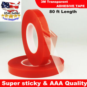 25m Clear Film 3m Red Transparent Double Sided Sticky Adhesive Tape Waterproof