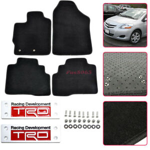 Diy For 07 12 Toyota Yaris Black Nylon Floor Mats Carpets 4pc W Trd Emblem