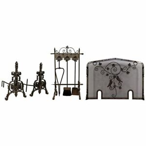 French Art Deco Hand Forged Wrought Iron Andiron Fireplace Tool Set And Screen