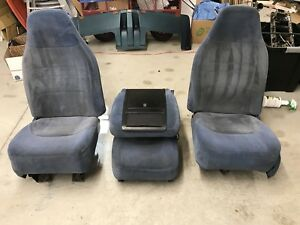 92 93 94 95 96 Ford Truck Bronco Bucket Seats Center Jumpseat Blue