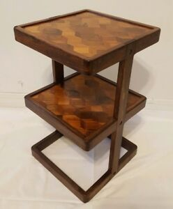 Vtg Don S Shoemaker Mid Century Danish Modern Cube Inlay 2 Shelf End Table Rare