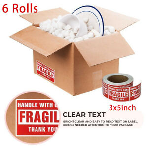 6 Roll 3000 Labels 3x5 Fragile Stickers Handle With Care Mailing Shipping Label