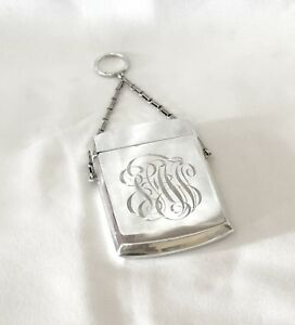 Antique Gorham Sterling Silver Calling Card Case Finger Chain 1881