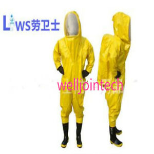 Heavy Type Fully Enclosed Chemical Protective Suit Yellow With Respirator Bag