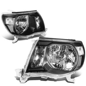 Fit 2005 2011 Toyota Tacoma Pickup Black Housing Clear Side Headlight lamp Set