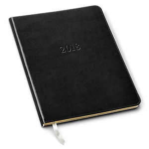 2018 Gallery Leather Professional Weekly Planner Acadia Black