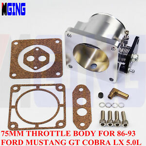 Billet 75mm High Flow Throttle Body For 86 93 Ford Mustang Gt Cobra Lx 5 0l Mm