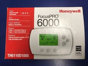 Th6110d1005 Honeywell Thermostat Programmable 5 1 1 1 Heat 1 Cool