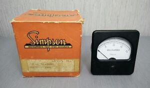 Nos Vintage Simpson Panel Meter Model 47 Rectifier Type Ac Ammeter 0 2 Ma