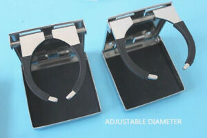 2x Stainless Steel Folding Cup Drink Holder Adjustable Fits Marine Boat Truck Rv