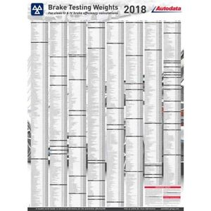 2018 Autodata Brake Test Weights Chart 18 3500 Free Delivery