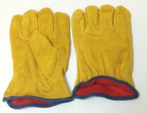 12 Pairs Heavy Duty Construction Leather Work Gloves With Cotton Lining Size Lg