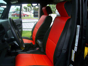 Jeep Wrangler Jk 2doors 2007 2012 Black Red Leather Like Custom Front Seat Cover