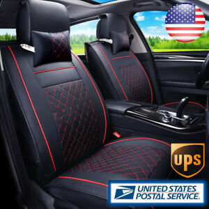 From Us 2pc Car Seat Cover Pu Leather Car Suv Front Cushion 2pc Pillow 4 Season