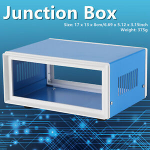 Metal Enclosure Project Case Diy Junction Box Blue 170 130 80mm