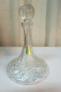 Vintage Ethan Allen Crystal Wine Decanter W Stopper Mouth Blown Hand Cut 24 Pbo