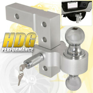 Dual Ball Mount 2 Inch Reciver Aluminum Adjustable Hitch Tow Hook Safety Lock