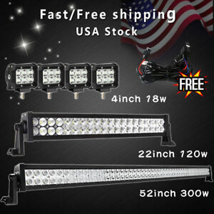 52inch Led Light Bar Combo 22 4 Cree Pods Offroad Suv 4wd Ford Jeep 22 32