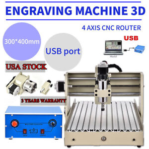 Usb 4 Axis 3040 Cnc Router Engraver Engraving Mill Drill Machine Desktop New Ups
