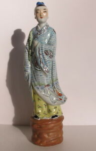 Antique Chinese Republic Period Famille Rose Man Statue Figurine 12 Signed