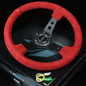Nrg 350mm 3 deep Dish 6 holes Bolts Steering Wheel Red Suede Grip Black 3 Spokes