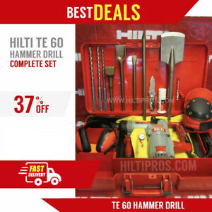 Hilti Te 60 Hammer Drill Preowned Made In Germany Free Bits chisels fast Ship