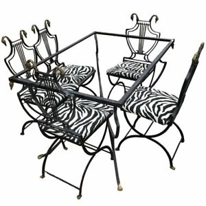 Art Deco Italian Wrought Iron Lyre Swan Back 5 Dining Chairs Table By Copelon