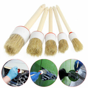 5pcs Soft Car Detailing Brushes For Cleaning Dash Trim Seats Wheels Wood Handle