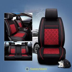 5 Car Seat Cover Interior Decor Universal Auto Cushion Black Red Pu Leather Ss