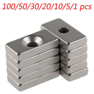 New 20x10x4mm Rare Earth Strong Magnet With Hole Neodymium N50 1 5 10 50 100pcs