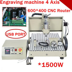 1500w Usb 4axis Cnc Router 6040 Engraver Engraving Drill Mill Ball Screws Us