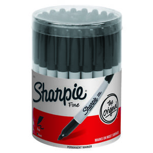 Sharpie Fine Point Permanent Marker Black canister With 36 Pens 35010