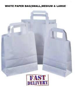 Kraft Paper Sos Carrier Bags White With Flat Handles takeaway gifts Quick Post