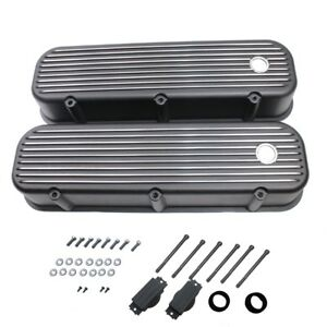 Retro Finned Black Coated Tall Valve Covers For 58 86 Bbc Chevy 396 427 454 502