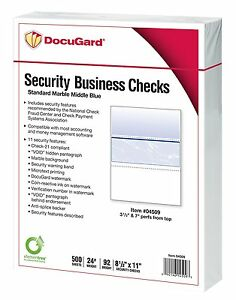 Docugard Business Checks Blue Marble Middle 24 500 Sheets Per Ream 04509