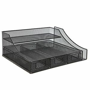 Black Wire Mesh Metal Office Desktop Organizer Document Tray File Storage 3