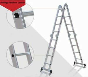 New Folding Platform Ladder 16feet Scaffold Ladders 7function Aluminum Material