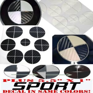 Black White Carbon Fiber Sticker Overlay Sport Full Set Fit All Bmw Emblems
