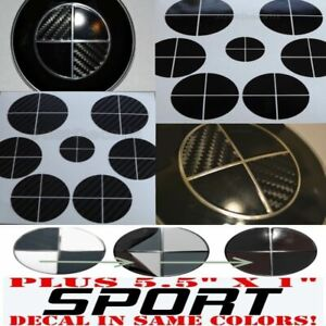 Black Carbon Fiber Gloss Black Sticker Overlay Set Sport Fit All Bmw Emblems