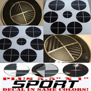 Black Carbon Fiber Matte Black Sticker Overlay Set Sport Fit All Bmw Emblems
