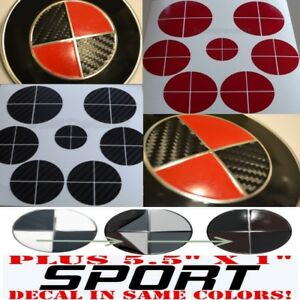 Carbon Fiber Black Red Sticker Overlay Sport Full Set Fit All Bmw Emblems