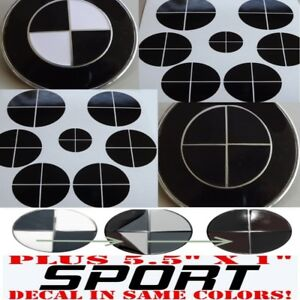 Gloss Black Sticker Overlay Sport Vinyl Full Set Black Out Fit All Bmw Emblems