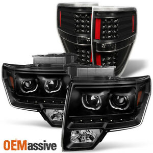 Fit 09 14 Ford F150 Smd Led Halo Projector Black Headlight Led Tail Lights Lamps