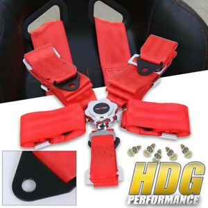 Universal 3 Wide Red Nylon Quick Release 5 Point Camlock Seat Harness Belt