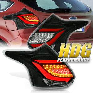 Brand New 2012 2014 Ford Focus Hatchback Led Rear Tail Light Pair Black Red