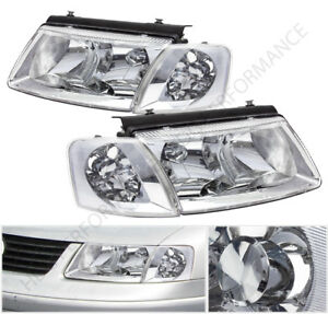98 00 Vw Passat Chrome Housing Head Lights With Turn Signal Corner Lamps Set