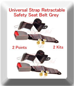 2 Kits Universal Strap Retractable Car Trucks Safety Seat Belt Grey 2 Point
