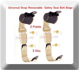 2 Kits Universal Strap Retractable Car Trucks Safety Seat Belt Beige 2 Point