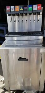 Cornelius 8 Head Soda Fountain Beverage Dispenser On A Stainless Steel Bin